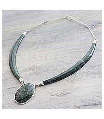 dark green jade pendant necklace, 'maya elegance' (guatemala)