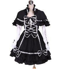 zeromart black cotton bow ruffle detachable cape gothic lolita dress