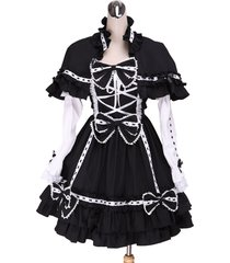 zeromart black cotton bow ruffle detachable cape gothic lolita dress
