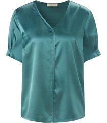 blouse met korte mouwen en v-hals van uta raasch groen