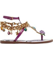 dolce & gabbana charm embellished flat sandals - purple
