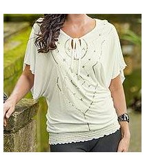 rayon blend blouse, 'ivory butterfly' (indonesia)