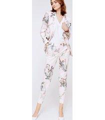 bawełniane spodnie tines w kwiaty