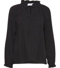 gaia cupro blouse lange mouwen zwart arnie says