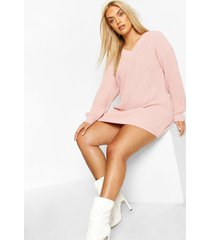 plus rib v-neck sweater dress, blush