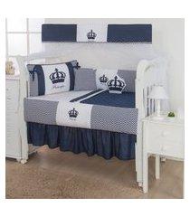 kit berço coroa marinho e branco 12 peças