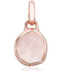 rose gold siren mini bezel pendant charm rose quartz