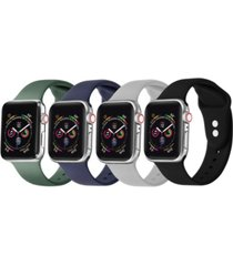 unisex green, black, gray, and eclipse blue 4-pack replacement band for apple watch, 42mm