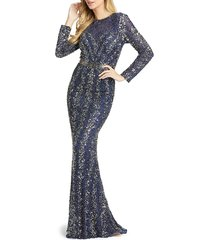 mac duggal women's beaded & sequined column gown - midnight - size 10