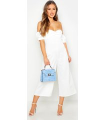 petite sweetheart off the shoulder jumpsuit, ivory