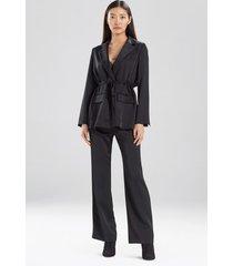 natori double satin drawstring jacket, women's, black, size l natori