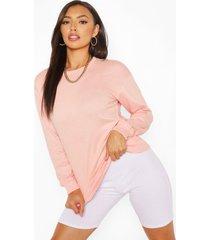 petite basic sweater, peach