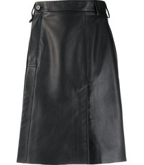 acne studios wrap front leather skirt - black
