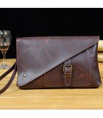 retro business clutch borsa pu casual grande capacità portafoglio phone borsa borsa per gli uomini
