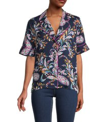 bcbgmaxazria women's paisley-print pajama shirt - paisley - size xs