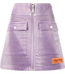 heron preston logo-patch zip-up skirt - purple