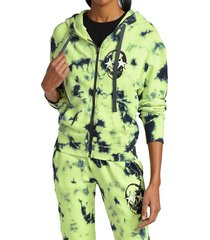 chrldr women's skull cloud zip-up hoodie - charcoal lime - size m
