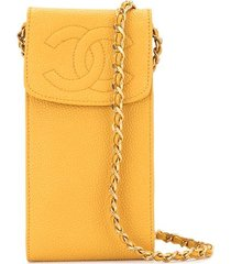 chanel pre-owned 1995 cc phone case - yellow