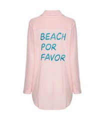 camisa feminina european beach por favor - rosa
