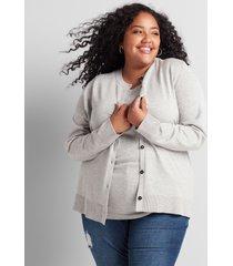 lane bryant women's button-front cardigan 26/28 medium heather grey