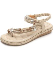 lostisy sandali con punta elastica a fascia con strass e strass perline
