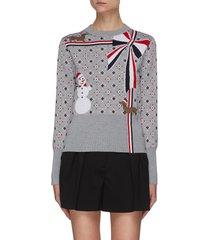 patterned snowman wool sweater