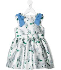 hucklebones london ribbon bodice flower-print dress - blue