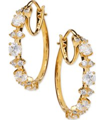 "eliot danori medium cubic zirconia shield hoop earrings, 1"", created for macy's"