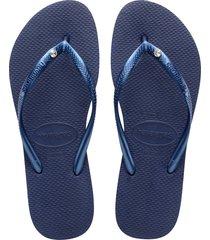 women's havaianas slim crystal flip flop, size 37/38 br - blue