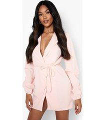 blazer jurk met geplooide mouwen en ceintuur, soft pink