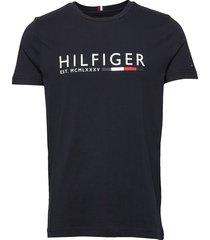 corp hilfiger stripe tee t-shirts short-sleeved svart tommy hilfiger