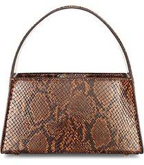 caroline snakeskin-embossed leather shoulder bag
