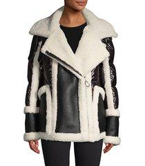 sheepskin-lined shearling notch puffer jacket