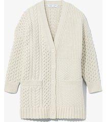 proenza schouler white label patchwork knit cardigan cream/white l