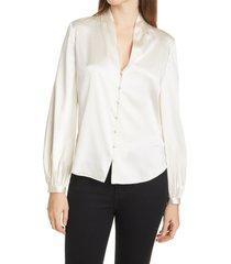 women's veronica beard beata silk blouse, size 14 - ivory