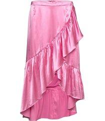 wendy satin knälång kjol rosa line of oslo