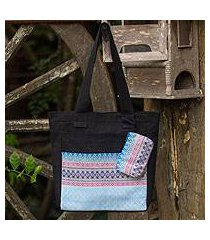 cotton tote handbag and change purse, 'mint garden' (thailand)