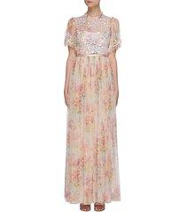 'floral diamond' bodice short sleeve maxi dress