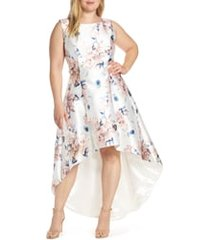 plus size women's chi chi london winter floral high/low satin cocktail dress