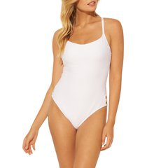 women's bleu by rod beattie floating underwire one-piece swimsuit, size 4 - white