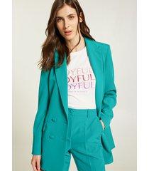 motivi blazer lungo doppiopetto donna verde