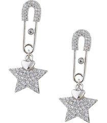eye candy la women's luxe silver & crystal star & safety pin dangle earrings