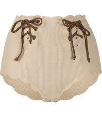 marysia lace-up detail bikini bottoms - neutrals