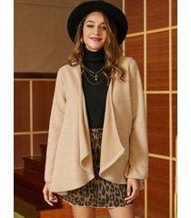 abrigo de tweed con cuello en cascada camel de yoins