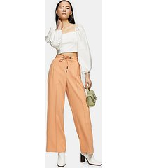 peach sweatpant style wide leg pants - peach