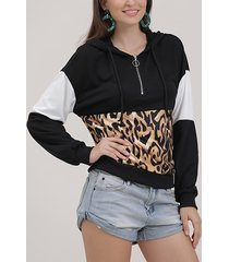 patchwork negro mangas largas leopardo capucha