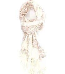 lenço bijoulux com arabescos rosa e off white