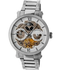 heritor automatic aries white dial, stainless steel watch 43mm
