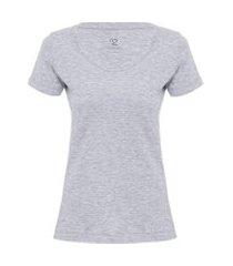 t-shirt feminina pima berlim decote u - cinza