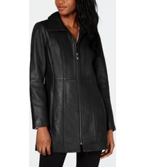 anne klein petite zip-front leather jacket